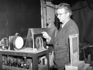 John Logie Baird with his television