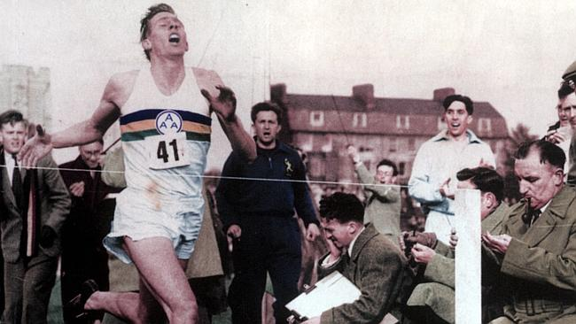 Bannister finishing the 4 minute mile