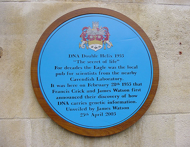 DNA plaque outside the Eagle Pub Cambridge