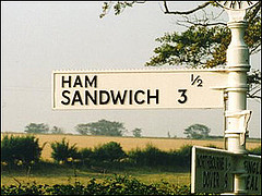 A road sign to Ham & Sandwich