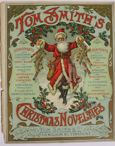 Tom Smith Cracker cover from 1906.\nSanta before Coca-Cola invented him!