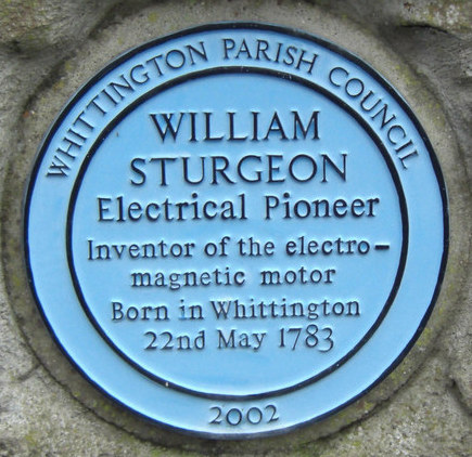 William Sturgeon inventor of the electro-magnetic motor plaque