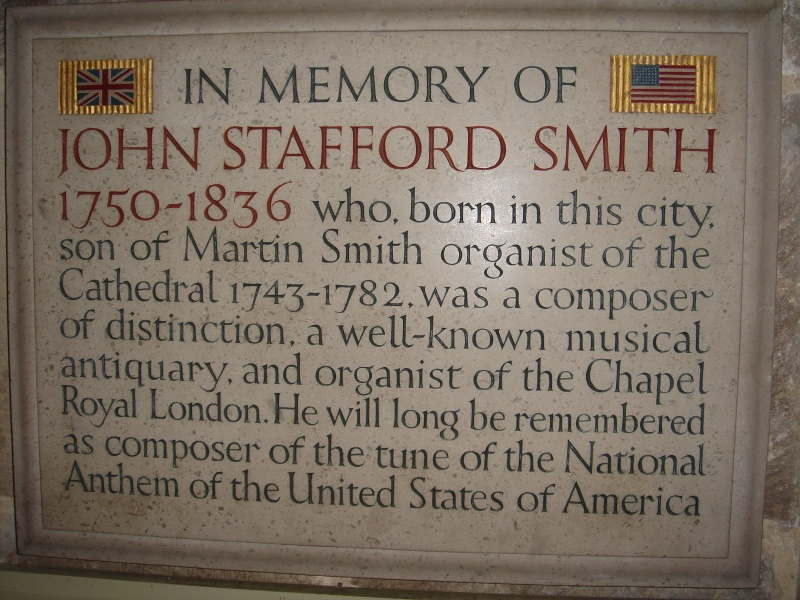 John Stafford Smith memorial in Gloucester cathedral