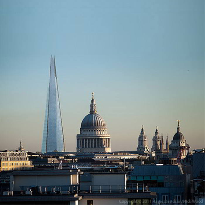 Shard tower, London dwarfing the beautiful St.Pauls Cathedral.